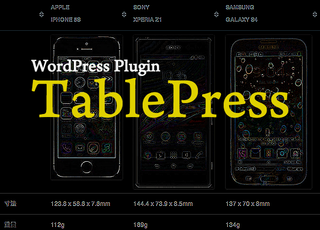 表テーブル作成用のWordPressプラグイン「TablePress」イメージ図