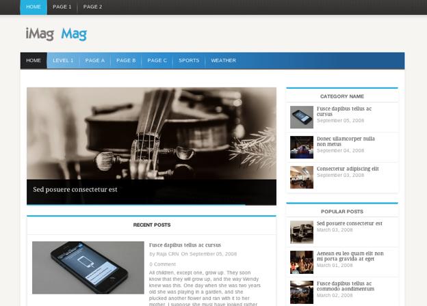 爽やかブルーのニュースメディアサイトに。WP無料テーマ「iMag Mag」