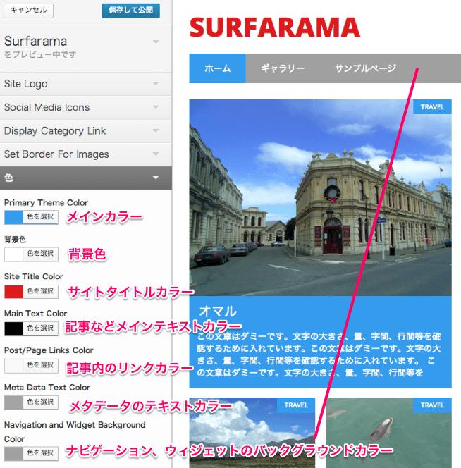ブログ用の無料WordPressテーマ「Surfarama」のカラーオプション
