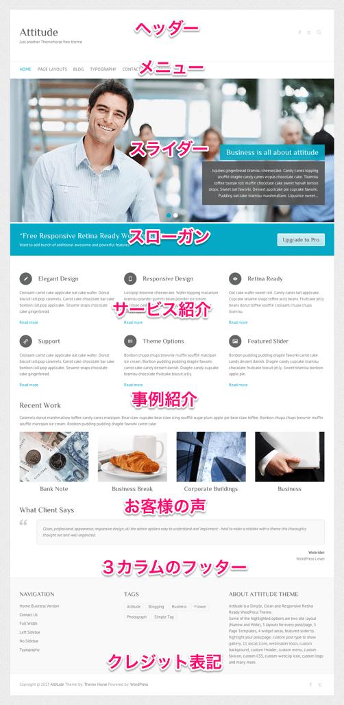 ビジネスサイト用の無料WordPressテーマ「Attitude」のビジネスホームページ用トップページイメージ