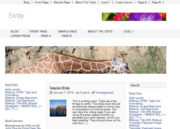 多用途用の無料WordPressテーマ「Exray」のトップページイメージ