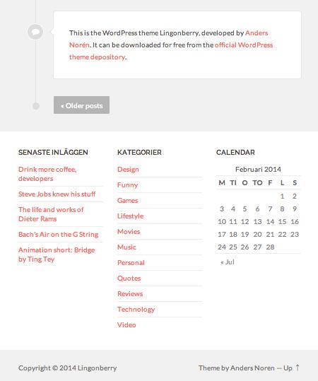 個人ブログや日記用の無料WordPressテーマ「Lingonberry」のトップページのデザイン2
