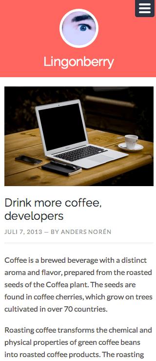 個人ブログや日記用の無料WordPressテーマ「Lingonberry」のレスポンシブデザインのイメージ1